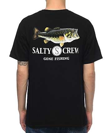 Salty Crew Green Bass Black T-Shirt