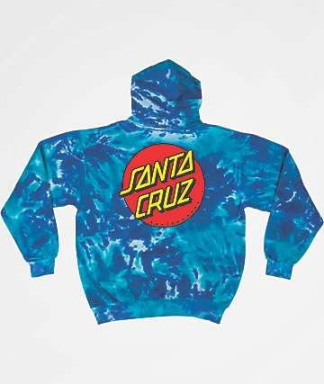 Santa Cruz Classic Dot Blue Tie Dye Hoodie