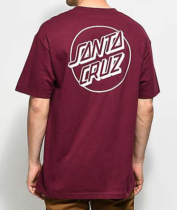 Santa Cruz Opus Dot Burgundy T-Shirt