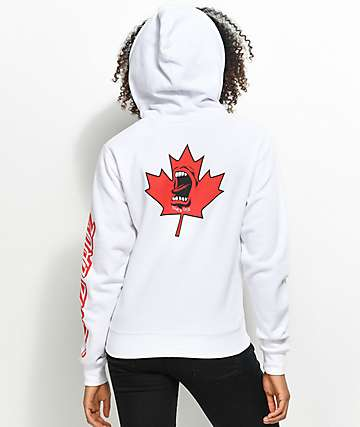 Santa Cruz Screaming Hand Maple Leaf White Hoodie