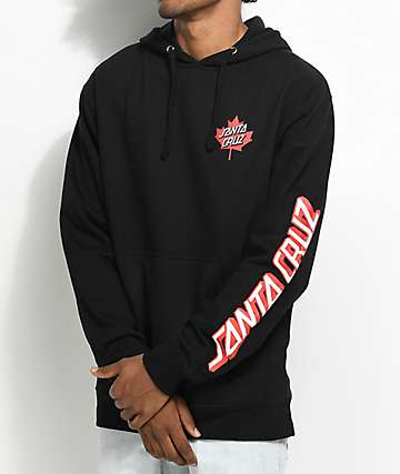 Santa Cruz Screaming Maple Leaf Black Hoodie