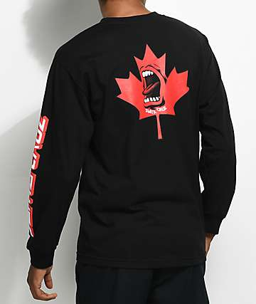 Santa Cruz Screaming Maple Leaf Black Long Sleeve Shirt