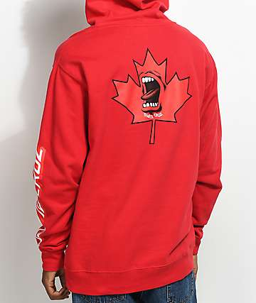 Santa Cruz Screaming Maple Leaf Red Hoodie