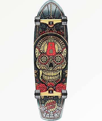 "Santa Cruz Sugar Skull 8.8"" Gold Cruiser Complete Skateboard"