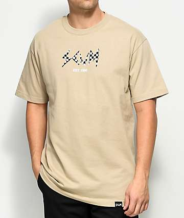 Scum Checkered Filled Logo Sand T-Shirt