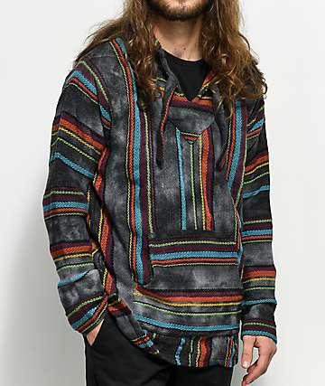 Senor Lopez Multi & Black Tie Dye Poncho