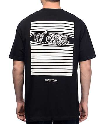 Sketchy Tank Peaking Black T-Shirt