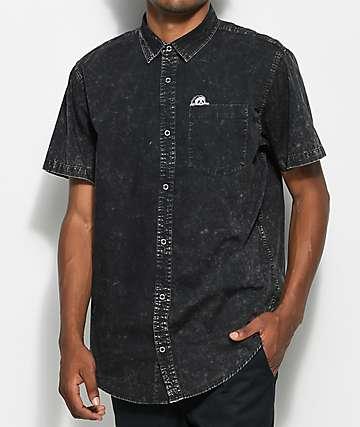 Sketchy Tank Sunday Driver Acid Wash Short Sleeve Button Up Shirt