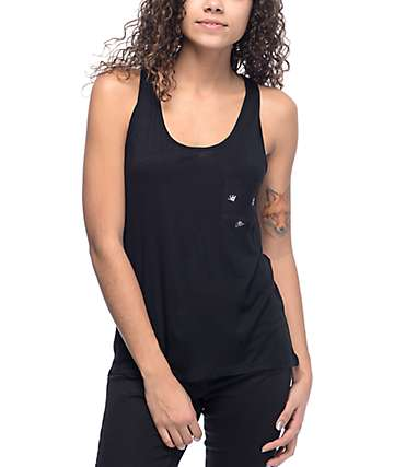 Sketchy Tank Zea Allover Print Black Tank Top
