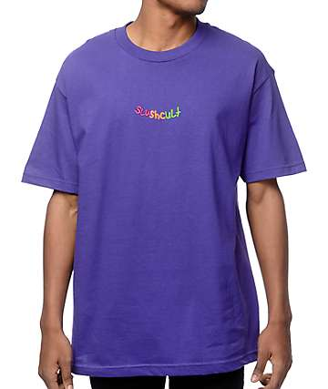 Slushcult Scribble Embroidery Purple T-Shirt