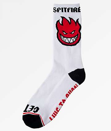 Spitfire Bighead Fill White, Red & Black Crew Socks