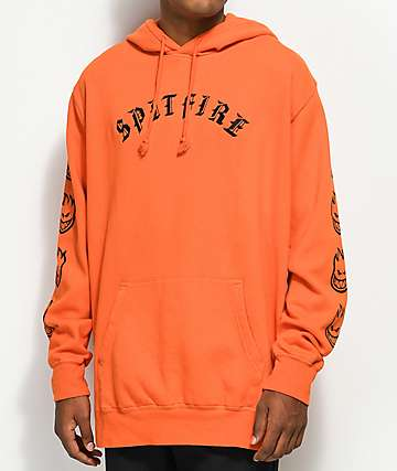 Spitfire Old English Embroidered Orange Hoodie