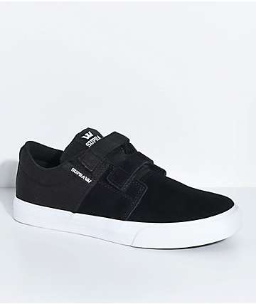 Supra Boys Stacks II Black, White, Hook & Loop Fastened Skate Shoes