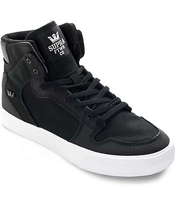 Supra Boys Vaider Black & White Canvas Skate Shoes
