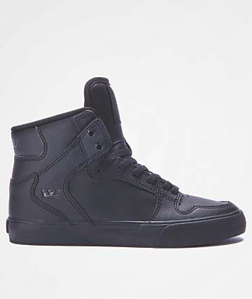 Supra Boys Vaider Black & Black Leather Shoes