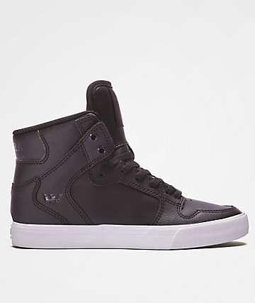Supra Boys Vaider Black & White Leather Shoes