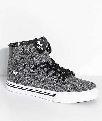 Supra Boys Vaider Heather Black Knit Skate Shoes