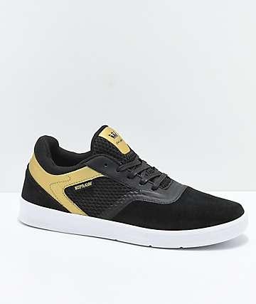 Supra Saint Black, Gold & White Skate Shoes