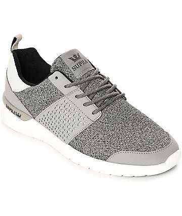 Supra Scissor Grey & White Knit & Nubuck Shoes