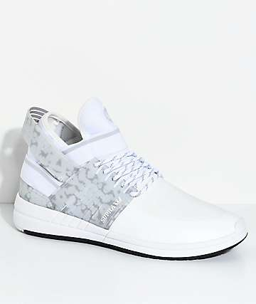 Supra Skytop V White & Grey Skate Shoes