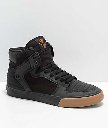 Supra Vaider Black & Gum Nubuck Skate Shoes