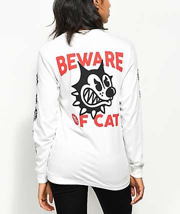 Swallows & Daggers Beware Of Cat Long Sleeve White T-Shirt
