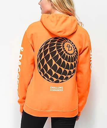 Swallows & Daggers Webbed 8 Ball Neon Orange Hoodie
