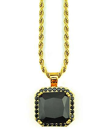 The Gold Gods Aura Onyx Pendant Necklace
