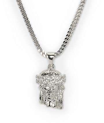 The Gold Gods Jesus White Gold Necklace
