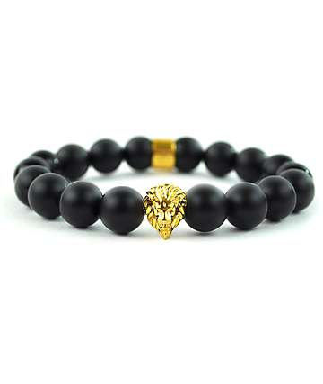 The Gold Gods Lion Matte Black Bracelet