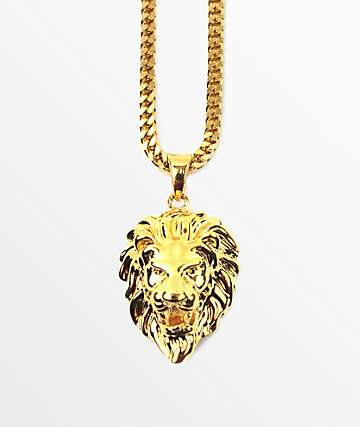 The Gold Gods Micro Lion Pendant Necklace