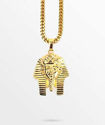 The Gold Gods Micro Pharaoh Pendant Necklace