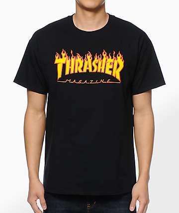 Thrasher Black Flame Logo T-Shirt
