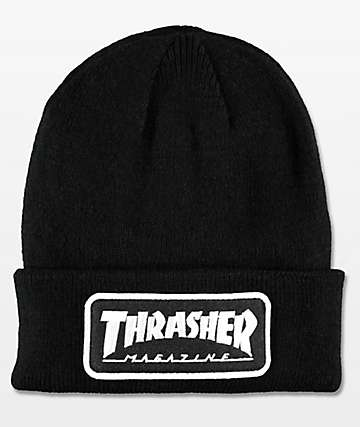 Thrasher Black Logo Patch Beanie