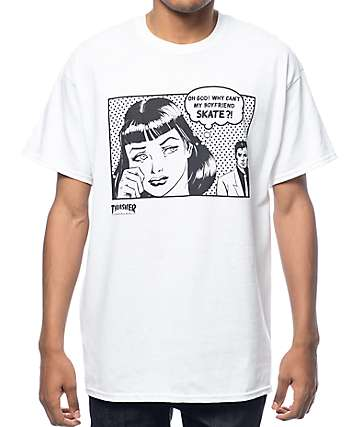 Thrasher Boyfriend White T-Shirt
