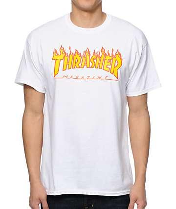 Thrasher Flame Logo White T-Shirt