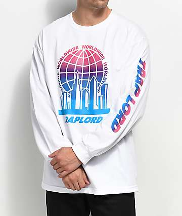 Traplord City Logo Long Sleeve White T-Shirt