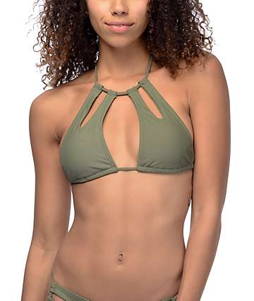 Trillium Keyhole Olive High Neck Halter Bikini Top