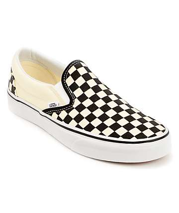 Vans Black & White Checkered Slip On Canvas Skate Shoes (Womens)