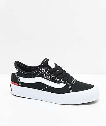 Vans Boys Chima Pro 2 Black & White Skate Shoes