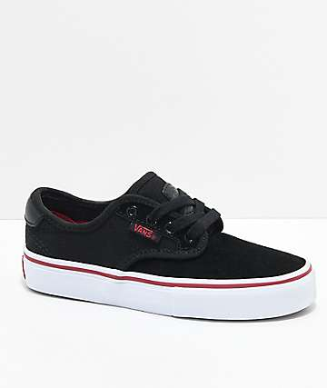 Vans Boys Chima Pro Black, White & Chili Pepper Skate Shoes