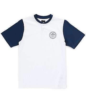 Vans Boys Denton Blue & White Henley T-Shirt