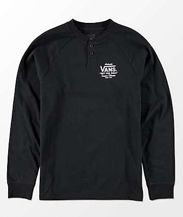 Vans Boys Denton Long Sleeve Black Henley Shirt