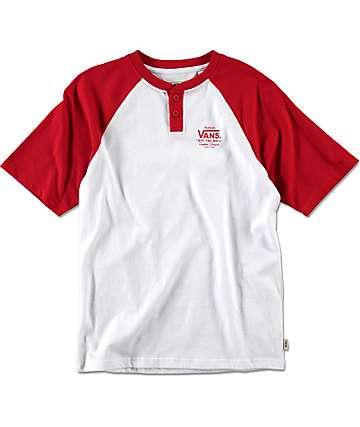 Vans Boys Holder Street Red & White Henley Shirt