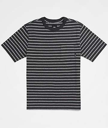 Vans Boys Lined Up Striped Black T-Shirt