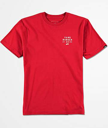 Vans Boys Stacked Rubber Cardinal Red T-Shirt