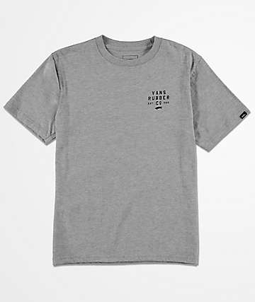 Vans Boys Stacked Rubber Heather Grey T-Shirt