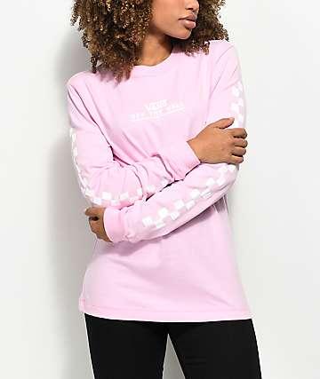 Vans Checker OTW Pink Long Sleeve T-Shirt