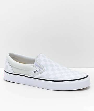 Vans Classic Slip On Checkerboard Blue Flower & True White Shoes