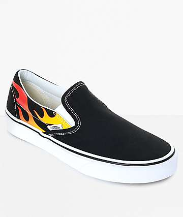 Vans Classic Slip-On Flame Black & White Skate Shoes